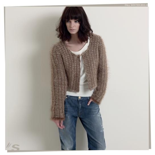 tweed mini-jacket and jeans